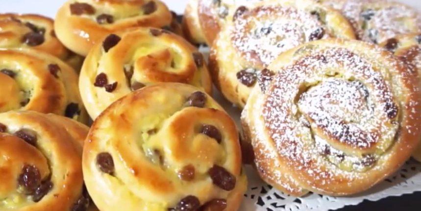Girelle danesi: la ricetta delle classiche brioche da bar con crema e uvetta