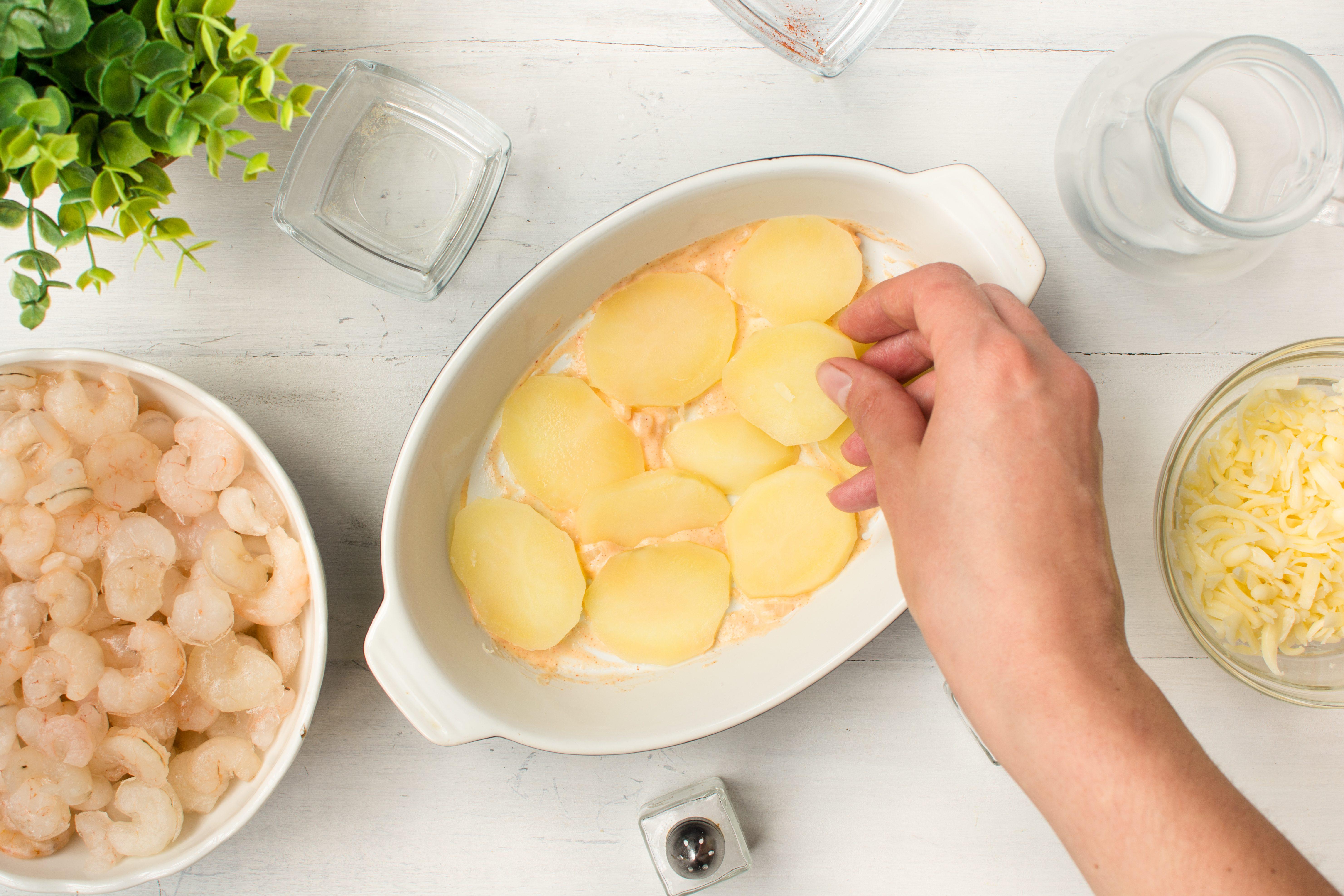 Gratin di gamberi e patate