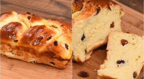 Pain brioche all'uvetta: la ricetta della treccia di pan brioche morbida e profumata
