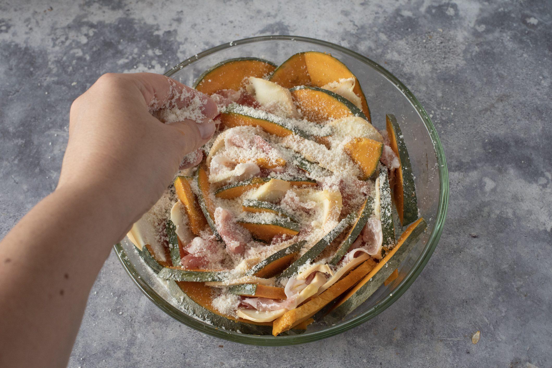 zucca gratinata con pancetta e scamorza