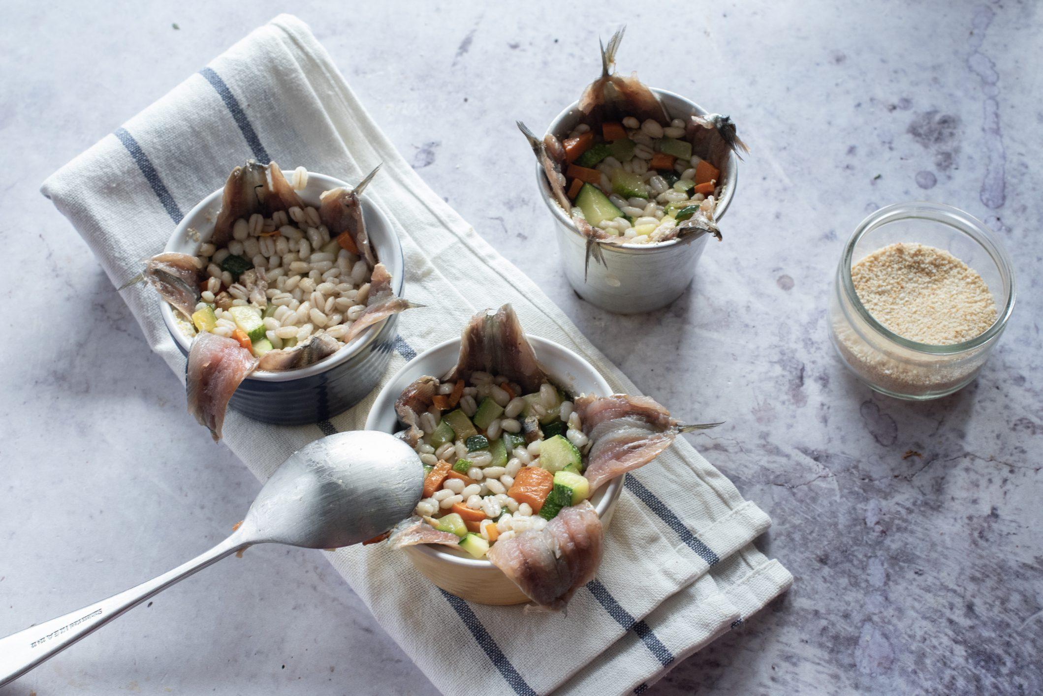 Tortini di orzo e sarde