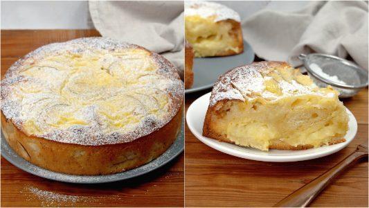 Torta nua alle mele: la ricetta del dolce soffice e cremoso con crema pasticciera