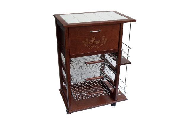 carrello cucina in legno con cassetto