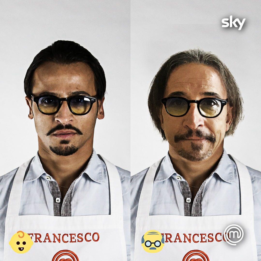 Francesco e suo padre in una grafica social di Masterchef