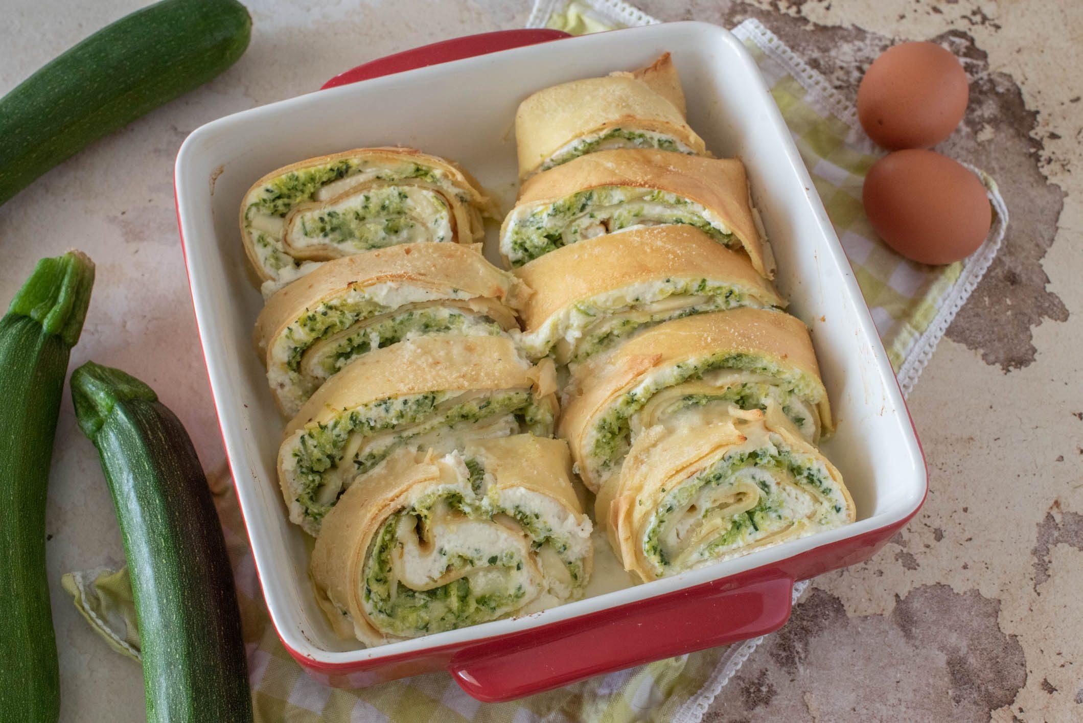 Rotolo di crespelle con zucchine: la ricetta del piatto goloso e filante