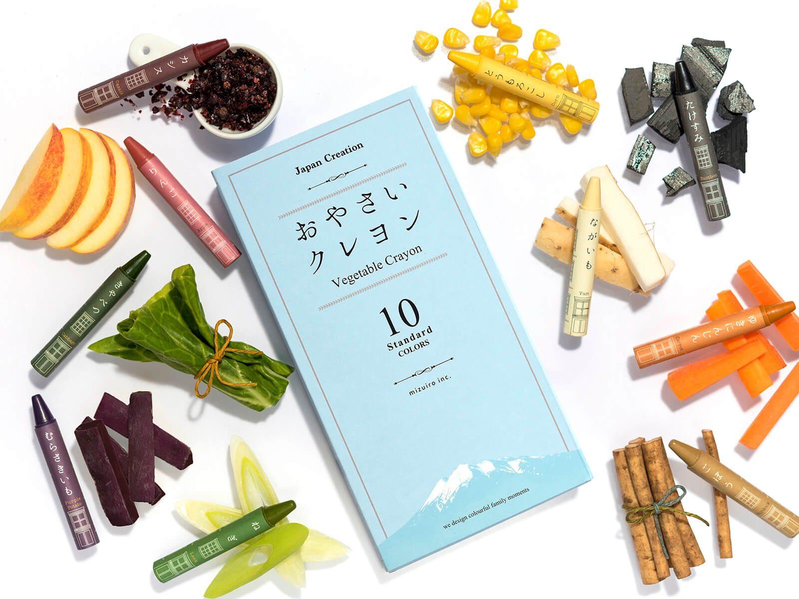 Oyasai Crayons, i pastelli giapponesi nati da patate, carote e altri scarti